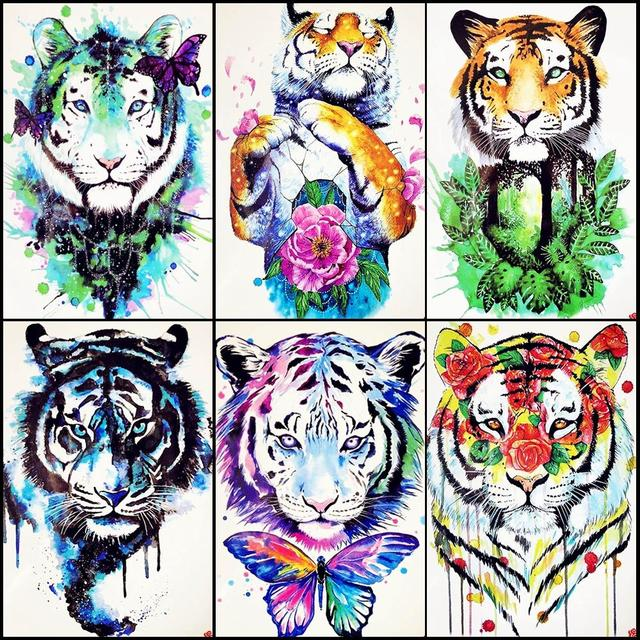 871fe684c Watercolor Tiger Temporary Tattoo Women Back Body Art Drawing Flash Men Arm  Tatoos Girls Makeup Tips Waterproof Tattoo Cosmetic