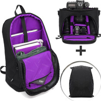 Camera Case Backpack Waterproof Shockproof Camera Bag for Canon Nikon Sony Olympus Pentax Mirrorless Lenses Pouch w/Rain Cover