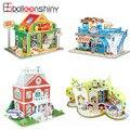 3d de construcción de juguete del bebé del rompecabezas diy juguete de aprendizaje temprano rompecabezas castillo patrón cabrito brinquedo educativo casas regalo del rompecabezas para los niños
