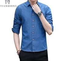 TIAN QIONG Men Shirt Brand 2018 Male Long Sleeve Shirts Casual Solid Color Denim Slim Fit