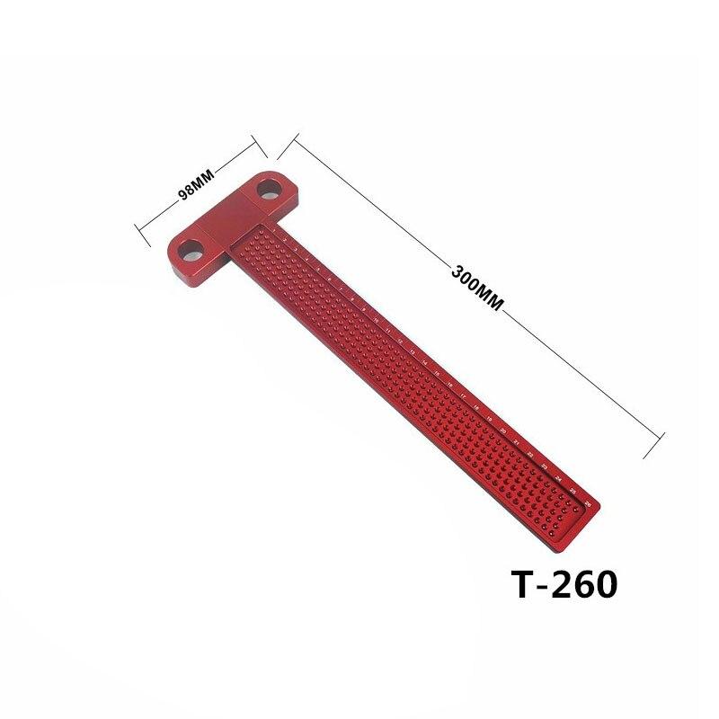 Деревообрабатывающий писец 160 мм Т-образная линейка Дырокол Scribing Gauge алюминиевый скрещенный стопой деревообрабатывающий скрещенный инструмент измерительный инструмент - Цвет: T-260