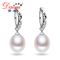 [DAIMI] Pearl Earrings Natural River Pearl With 925 Sterling Silver Earrings For Women Retro Faced Circle Dangler KOREAN
