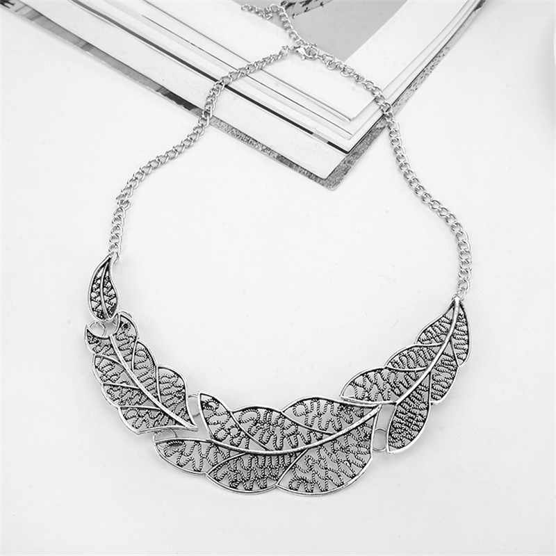 a01817ac9461f5 ... Hesiod New Fashion Vintage Retro Gold Silver Leaf Pendant Statement  Necklace for Woman Dinosaur Collar Necklaces ...