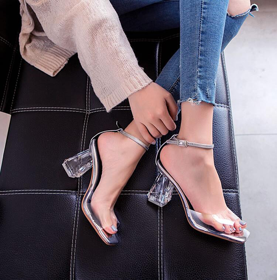 Femmes Pvc Boucle Rue Transparent Toe Prova Robe Talon Peep Lady Perfetto Sexy Cristal Partie Chaussures Sangle Sandales qp5Ew