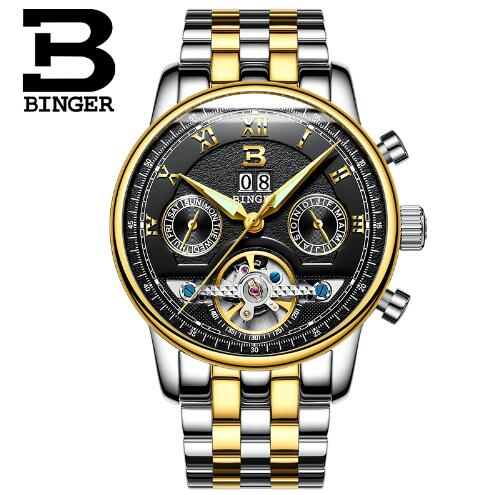 Switzerland Binger Luxury Brand Waterprrof Man font b Watches b font Full Steel Tourbillon Army font