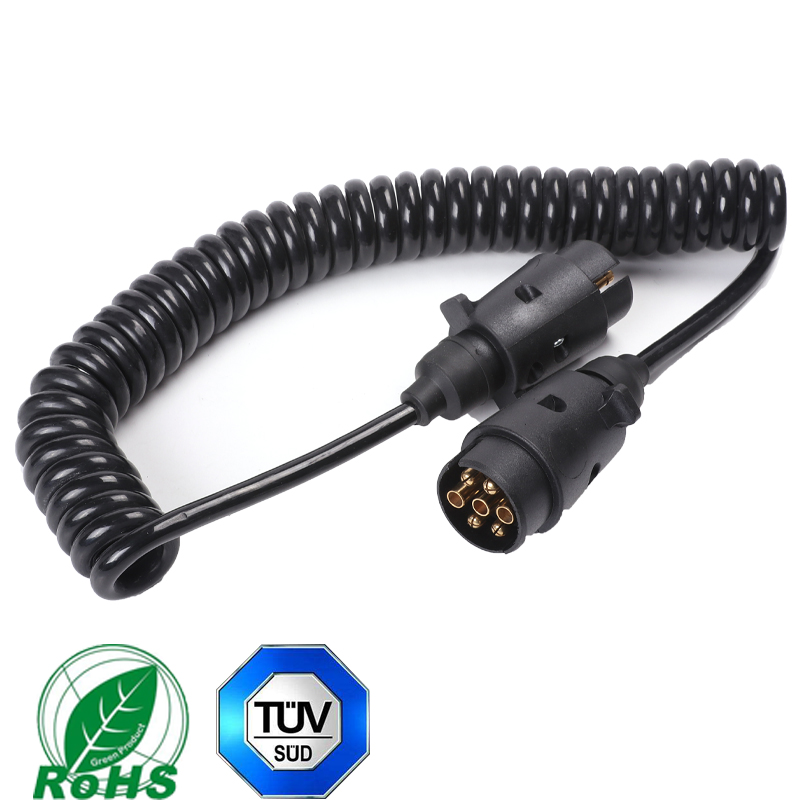 12v  2 Piece 7 Pin Plastic Trailer Male Plugs With 2.5 M Spiral Coiled Cable Trailer Caravan Connector For Truck Car Accessories