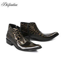 Deification Stylish Printed Men Ankle Boots Genuine Leather Motorcycle Footwear Shoe Formal Botas Militares Western Cowboy