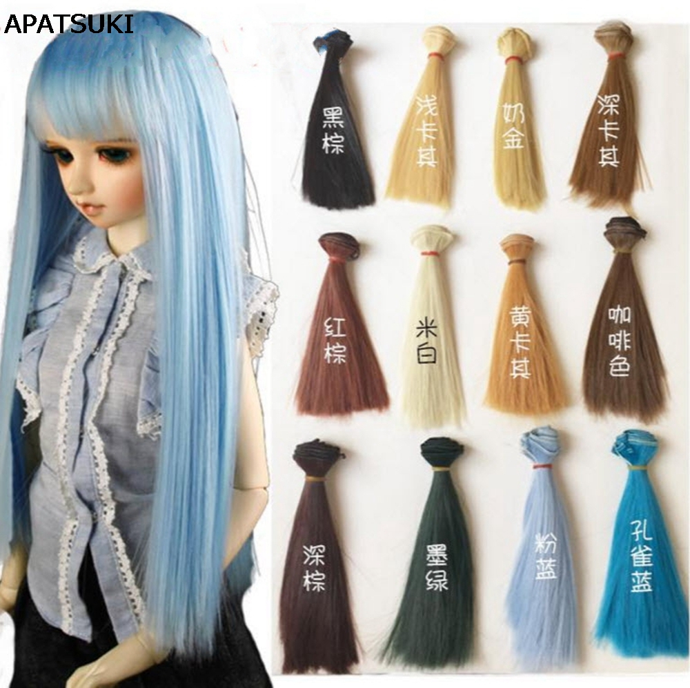 1pc 15*100cm Natrual Color Wig For Dolls High Temperature Wire Handmade Doll Wig Hair For 1/3 1/4 1/6 BJD Dolls
