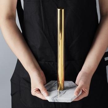 Porte-porte-serviettes en papier plaqué or | Étagère de rangement de bijoux de bureau Style rétro nordique marbre naturel, porte-serviettes de cuisine