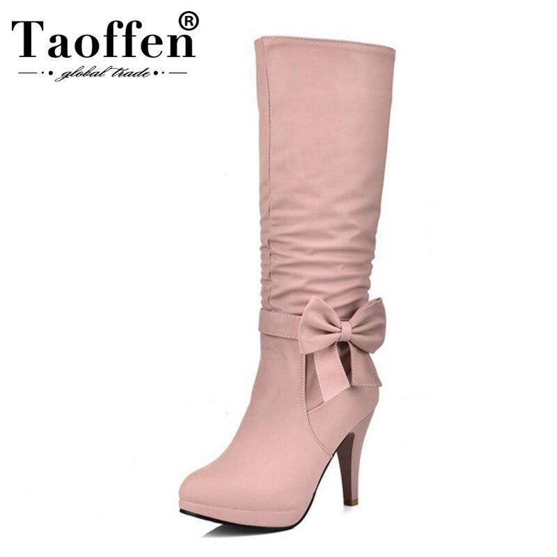 100% Wahr Taoffen Größe 32-43 4 Farben Frauen Knie Stiefel Zipper Plattform Bowtie Frauen Botas Mode Schuhe Süße Weibliche Schuhe