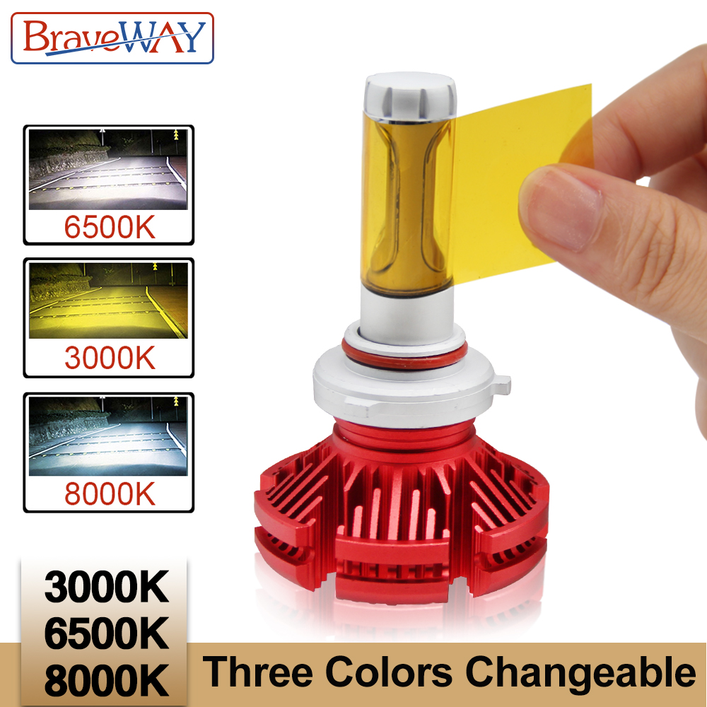 BraveWay ZES Led Phare Ampoules De Voiture H4 H11 9005 HB3 9006 HB4 H7 Led Double Couleur Lumière Ampoule H4 3000 k 6500 k 8000 k Led Auto Lampe H7