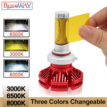BraveWay H11 Led Headlight Bulbs Car H4 H11 9005 HB3 9006 HB4 H7 Led Dual Color Light Bulb H4 3000K 6500K 8000K Led Auto Lamp(China)