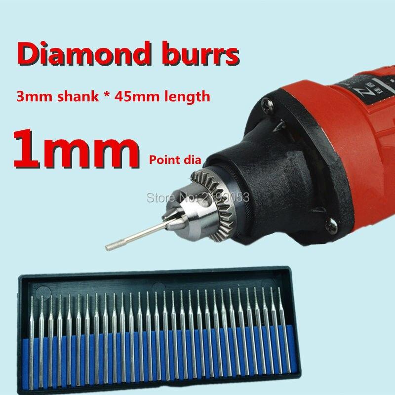 все цены на 30pcs Glass Grinding Tool Engraving Diamond Burrs Diamond Mounted Points Set Cylindrical 3mm Shank for Engraving Rotary Tool онлайн