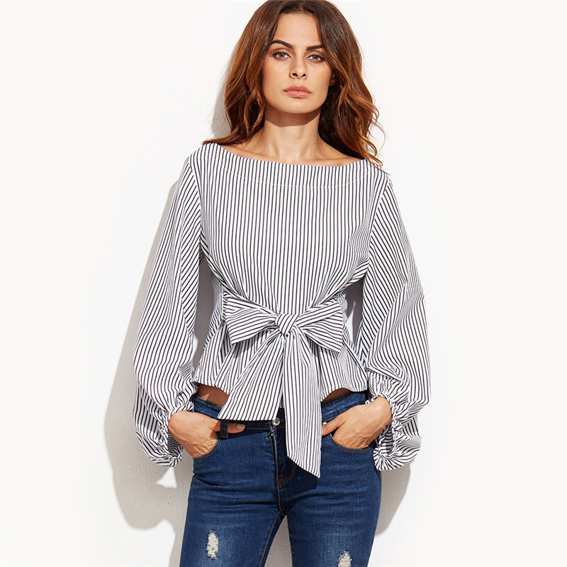 Shein women blouses black and white striped long sleeve for Ladies shirts and blouses