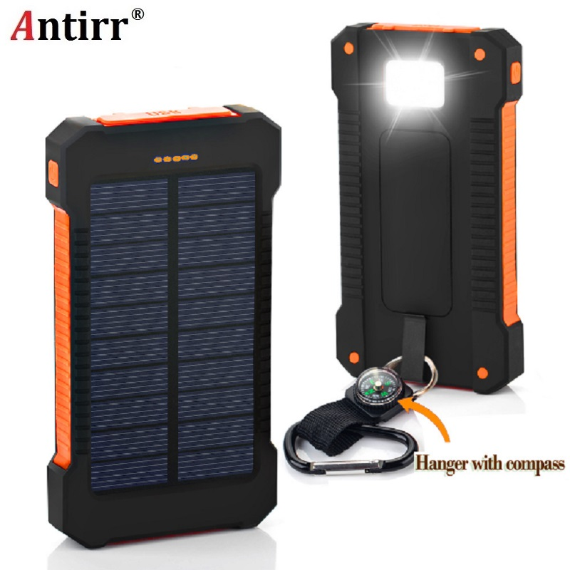 Solar Power Bank Waterproof <font><b>6000mAh</b></font> Solar Charger 2 USB Ports External Charger Powerbank for <font><b>Smartphone</b></font> with LED Light image