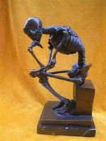Wonderful Bronze Skull Thinker Sculpture Statue