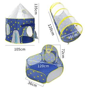 Image 3 - خيمة الأطفال 3 في 1 سفينة الفضاء خيمة الفضاء خيمة يورت لعبة منزل سفينة الصواريخ تلعب خيمة بركة الكرة