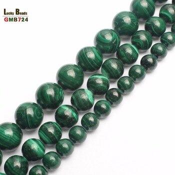 e24542f25cc7 Natural AA malaquita Pavo Real piedra cuentas redondas para hacer joyería  DIY pulsera collar 15 pulgadas 6 8 10 12mm
