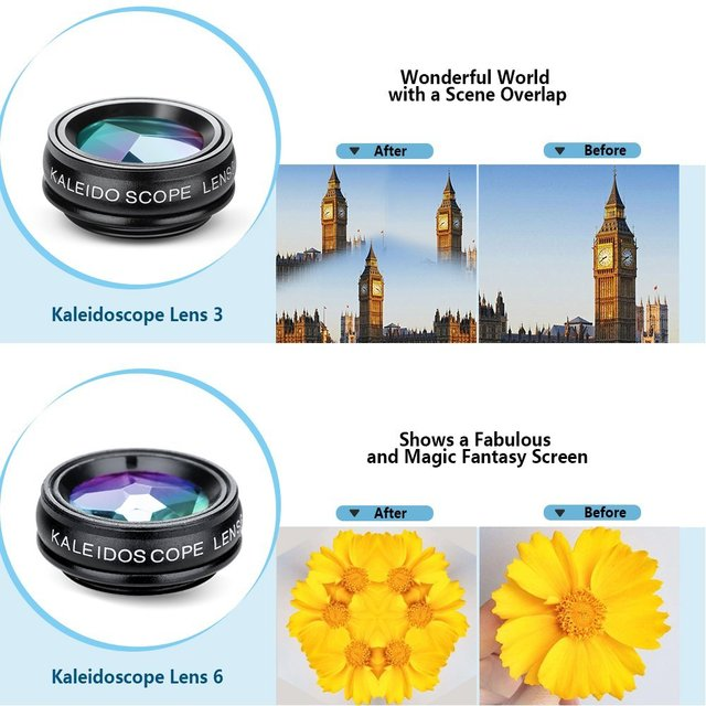APEXEL 10in1 CellPhone Camera Lens Kit Wide Angle&Macro Lens+Fisheye Lens Telephoto Lens CPL/Flow/Star/Kaleidoscope for phones 3