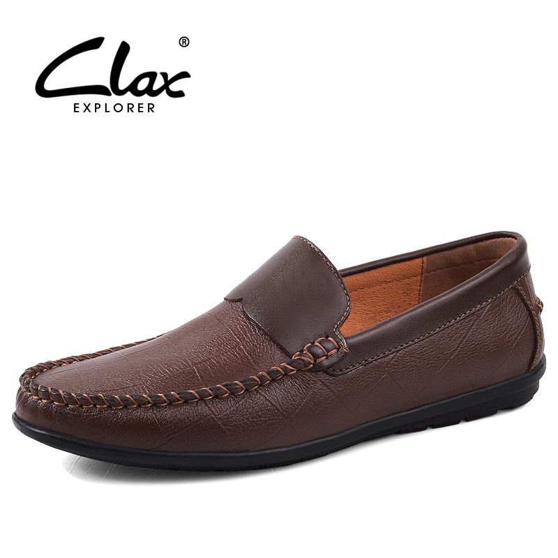 CLAX Mens Boat Shoes Genuine Leather Causal Shoe 2018 Spring Summer Fashion Flat Leather Footwear Male Loafers Slip on Moccasins 2017 men genuine leather boat shoes male british style retro flat shoe fashion leisure handmade sapato masculino d30