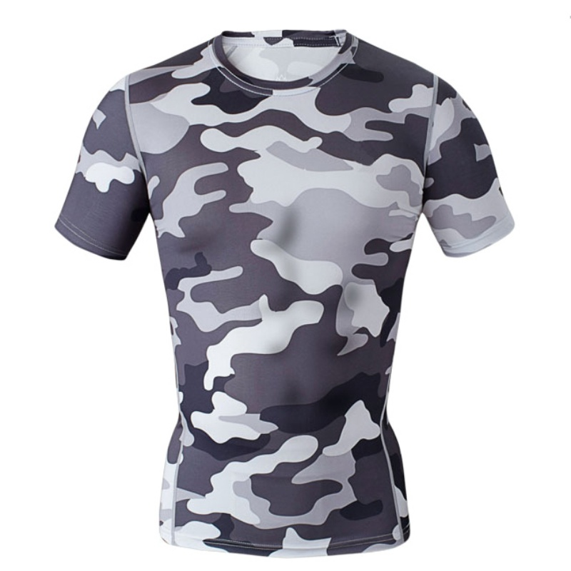 New Arrival Camouflage Men's T shirts Short Sleeve Crossfit Camiseta Compression Shirts Quick Drying Breathable Tops