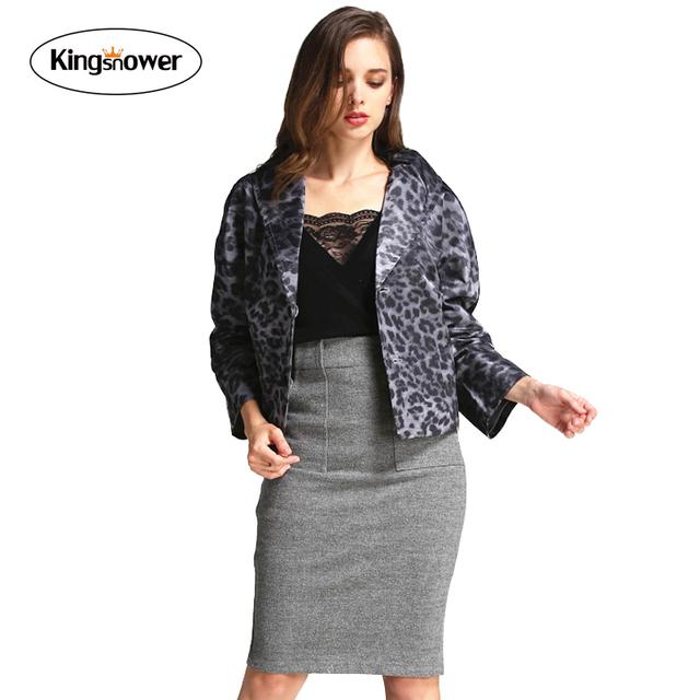 2016 Moda Verão Feminina Outono Blazers Leopardo Impressão Rainha Temperamento Casaco Revestimento das Mulheres Soltas Plus Size JA2088