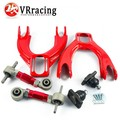 VR RACING- FOR HONDA CIVIC 92-95/INTEGRA  JDM FRONT UPPER CONTROL ARM TUBE CAMBER KIT+ 92-00 Adjustable Rear Camber Arms RED