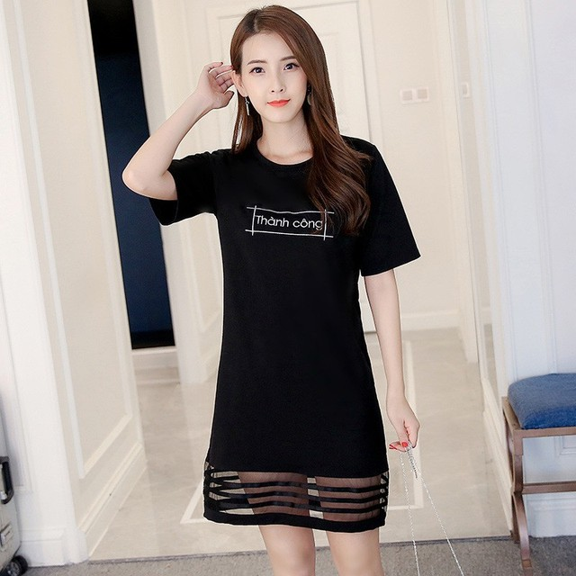 Short Sleeve Elegant Dress Print Letter Mesh Summer Dress Slim T