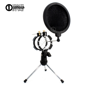 Desktop Tripod Handheld Spider Microphone Stand Shield Shcok Mount Windscreen Wind Screen Pop Filter Mic Holder For Avantone ADM image