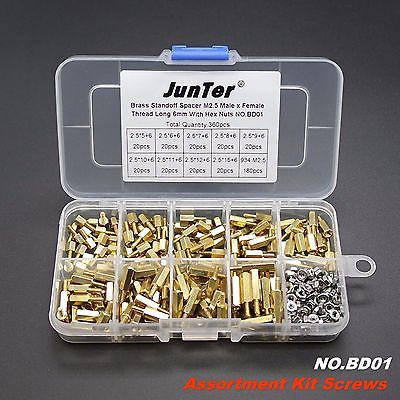 Hot selling 360pcs M2.5 Brass Standoff Spacer M2.5 Male x Female With Hex Nuts m2 3 3 1pcs brass standoff 3mm spacer standard male female brass standoffs metric thread column high quality 1 piece sale