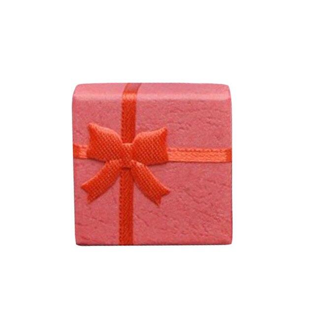 Caja de regalo de joyería Mini caja de regalo Bowknot caja cuadrada