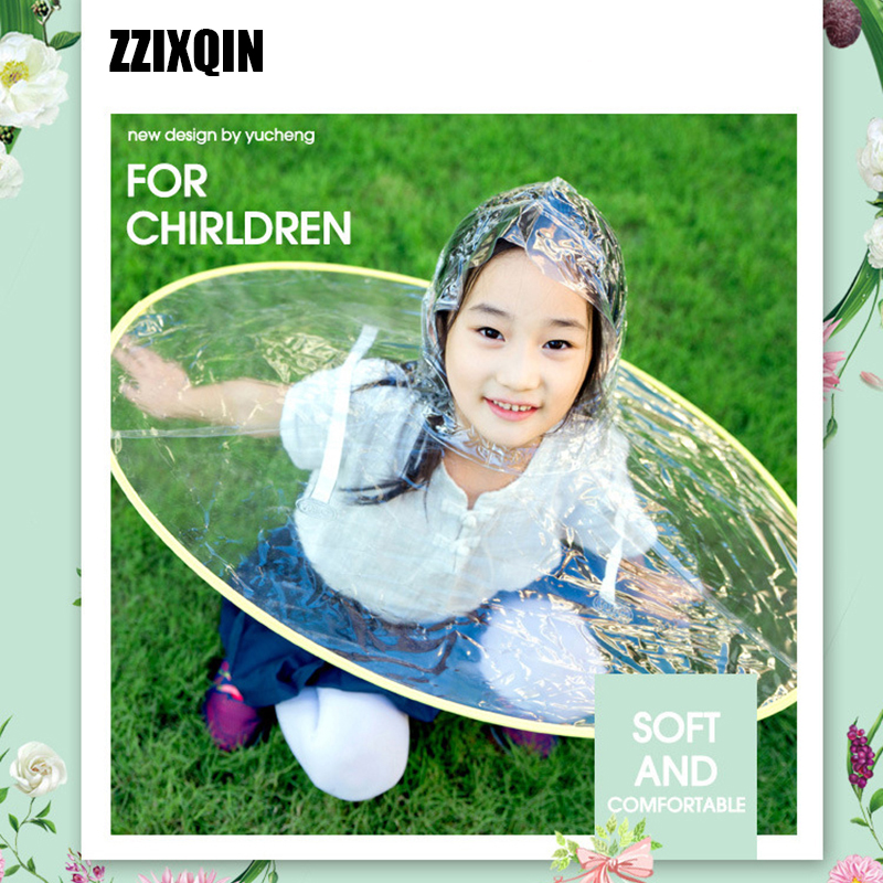 ZZIXQ Baby 2018 Hot Circular Portable Folding Rain Coat Umbrella Hat Hands Children Outdoor Protective Artifact Form Rainy ...