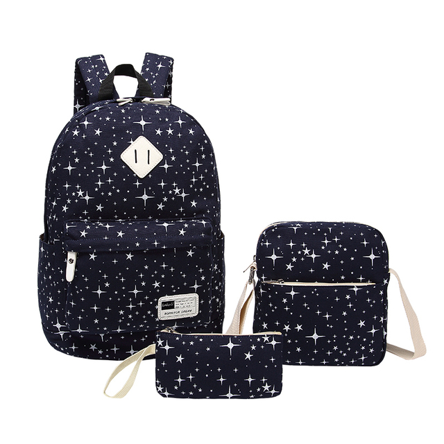 3pcs blue star boys school backpack men travel bags girl schoolbag ...