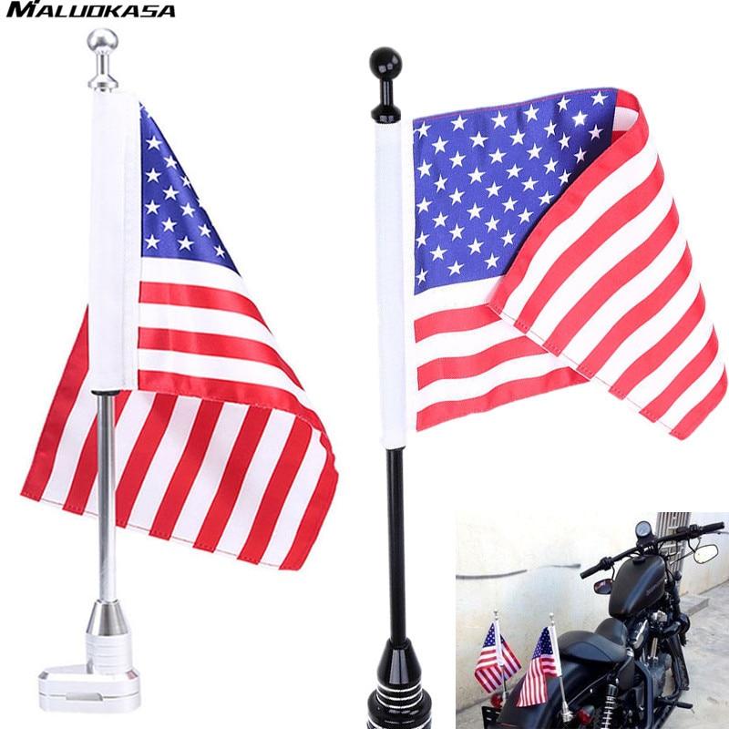 MALUOKASA Motorcycle American Flag for Rear Luggage Rack Mount Motocross Bracket Flag Pole For Harley Bobber Chopper Custom