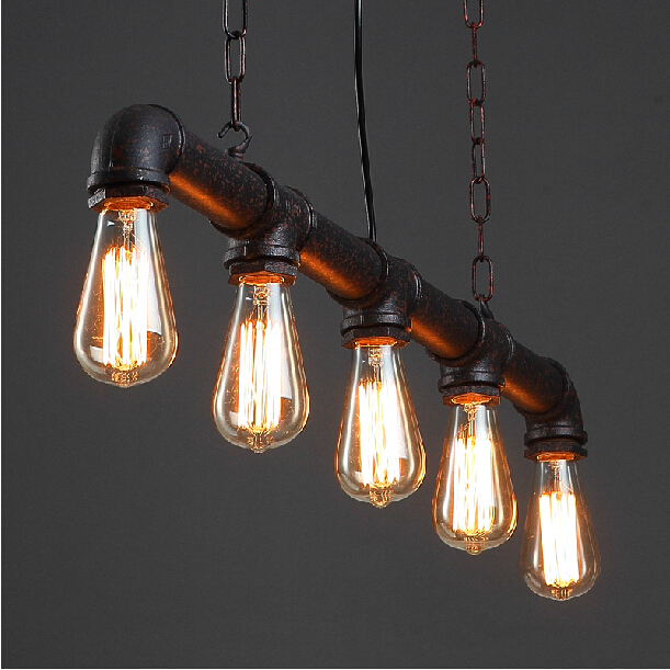 Water pipe Steampunk Vintage pendant lights for dining room Bar rust red home decoration American industrial loft pendant lamp wheat breeding for rust resistance