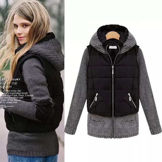 Winter Women Casual Patch Design Coat Women Hooded Zipper Long Sleeve   Jacket   Overcoat Zippers   Basic     Jacket   Outwear