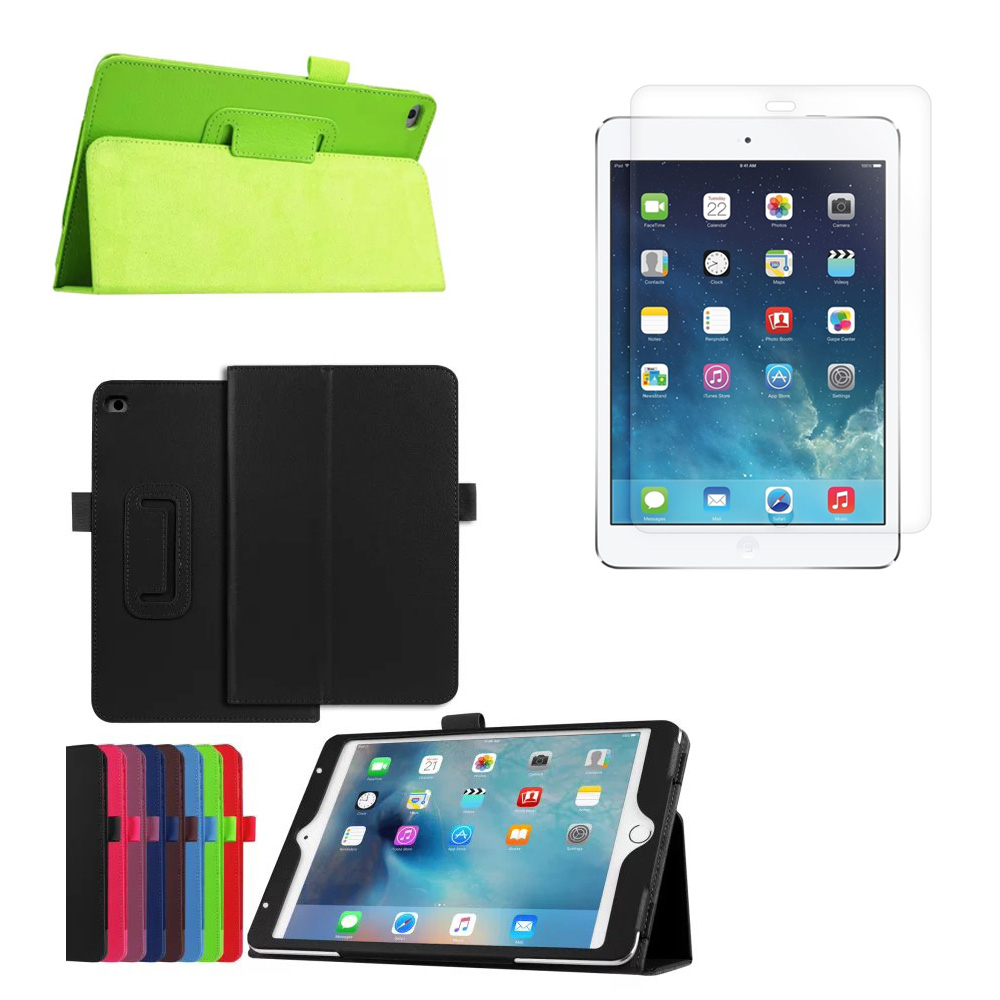 1*Clear Screen Film + Ultra Slim Litchi Folio Stand PU Leather Protective Cover Case For Apple iPad Mini 4 Mini4 7.9 inch Tablet
