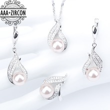 hot deal buy bridal silver 925 natural freshwater pearl jewelry sets women earrings with pearls pendant&necklace/rings set jewelery gift box