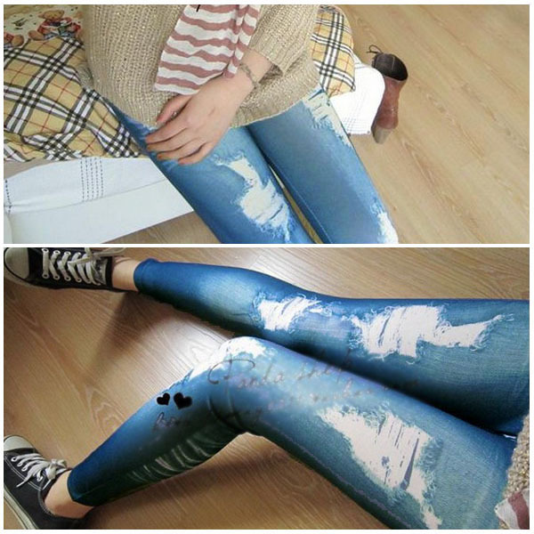 Retro Lady Women Skinny Slim Distressed Stretchy Jeans   Leggings   Jegging Pants