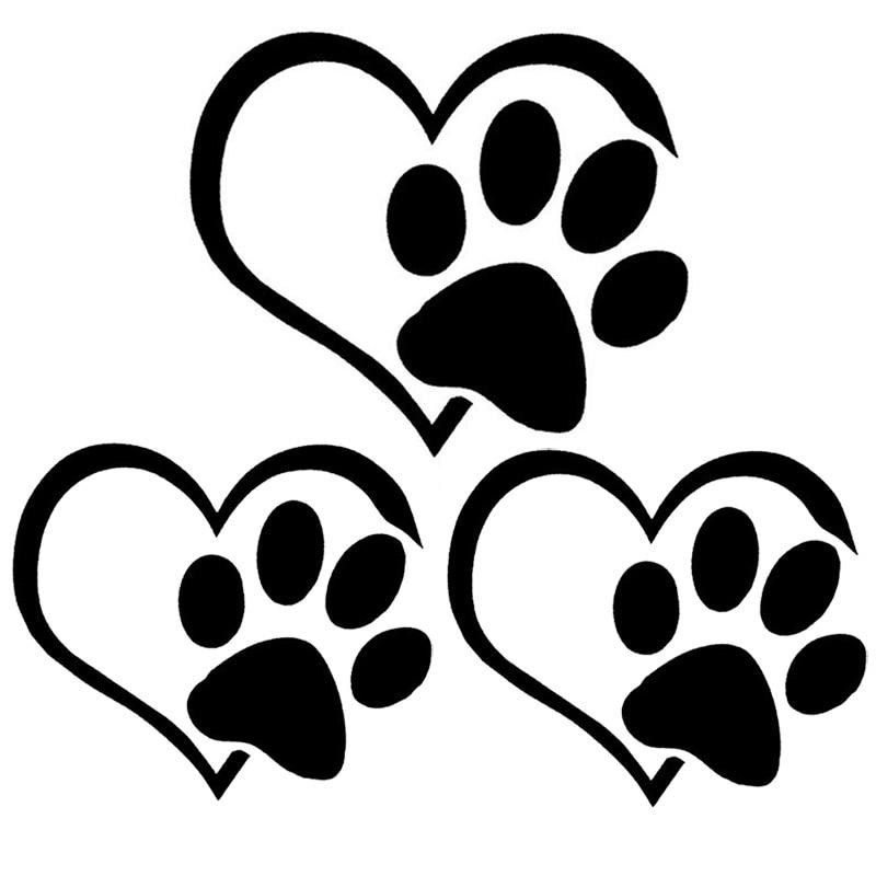 Cute Dog Paw Peach Heart Pet Footprint Window Decal Car Reflective Sticker