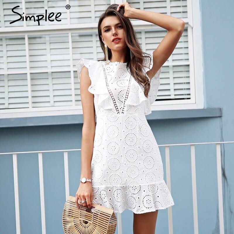 de46b8352f Simplee algodão Bordado vestido branco mulheres Irritar manga cintura alta  vestido curto 2018 vestidos Keyhole voltar vestido casual feminino