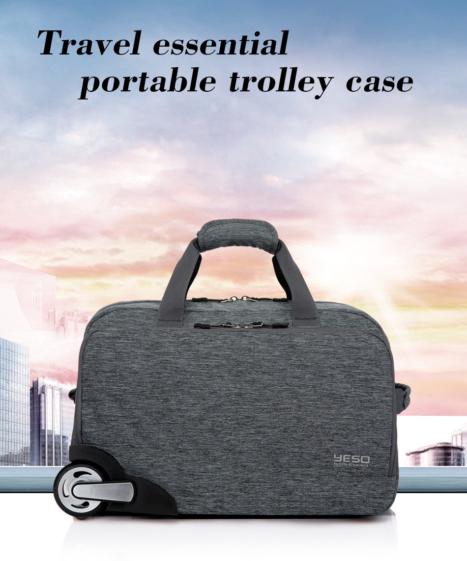 YESO Trolley Travel Bag Unisex Hand Luggage 20 inch 32L Rolling Duffle Bags  Waterproof Oxford Suitcase Wheels Carry On Luggage ... 41b80c7bc58d4