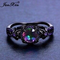 JUNXIN kobieta pierścień tęczy niebieski kryształ cyrkon pierścienie czarna biżuteria ze złotym wypełnieniem Vintage obrączki dla kobiet Best Friend prezenty