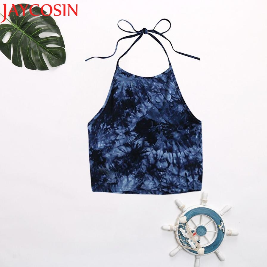 Women's Casual Tie Dye Sleeveless Vest Halter Cami   Tank     Top   JUN5
