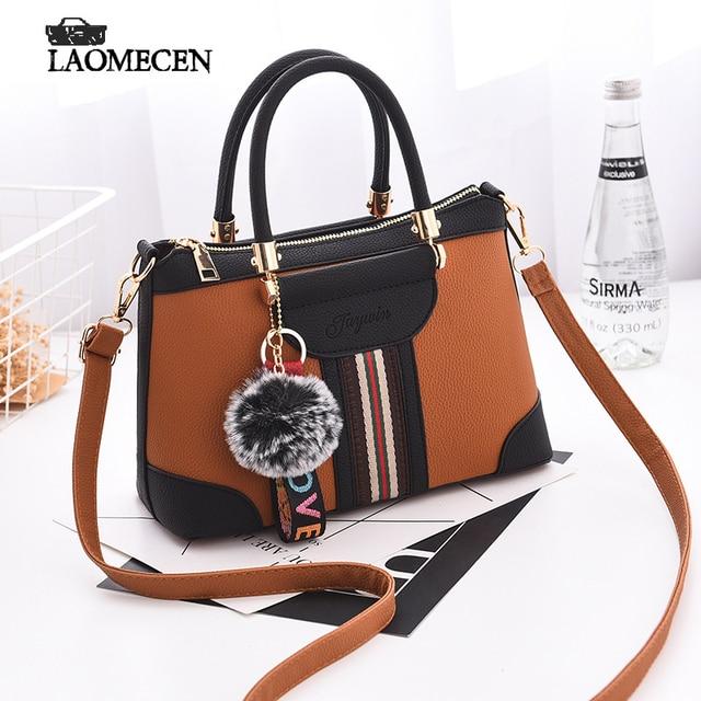 90bfbb11c55c Top-Handle Famous Designer Brand Bags Women Leather Handbags Tote Fake Brand  Bags Noble Black Woman Bag Fringe Ball Bolsos Mujer