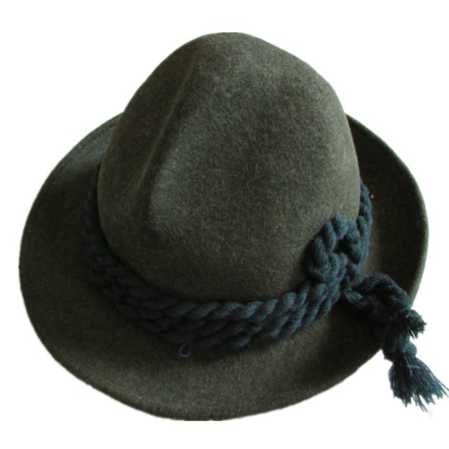 Tyrolean Hat Oktoberfest Wool Bavarian Alpine Felt Hat Chapeau Mixed Green 4d19968cae50