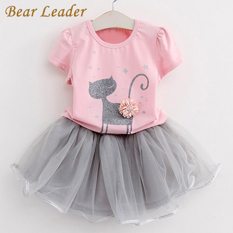 Bear Leader Girls Dress 2016 Brand Princess Dress Kids Clothes Cartoon Cat Print Design for Girls Clothes 2-6Y Party Dresses