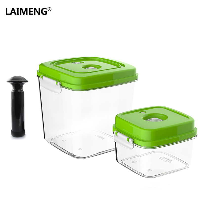 LAIMENG Food Vacuum Container Square Large Capacity Plastic Container Work With Pump Vacuum Sealer Food Storage 2pcs/lot S190