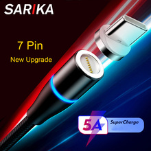 Sarika S06 5A Flash Charge Magnetic Charger Cable For Xiaomi Redmi k20 Oneplus 7 Pro USB Type C Phone Fast Magnet
