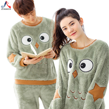 JCVANKER New Arrival Couples Pajamas Set For Women Men Animal Cute Bird Pattern Winter O-neck Warm Sleepwear Home Clothes Suit